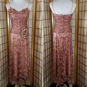 Betsey Johnson evening dress, rose pink with lace